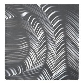 Black White Geometric Curves Fine Fractal Art Duvet Cover