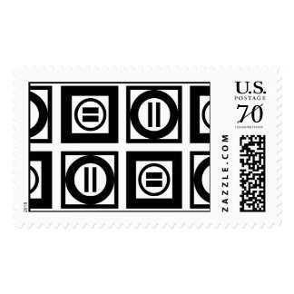 Black & White Geometric Equal Sign Pattern – Large Postage