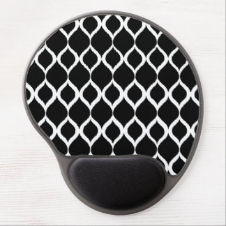Black White Geometric Ikat Tribal Print Pattern Gel Mouse Pad