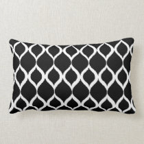 Black White Geometric Ikat Tribal Print Pattern Lumbar Pillow