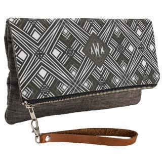 Black+White Geometric Monogram Clutch Bag