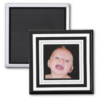Black & White Geometric Photo Frame Magnet