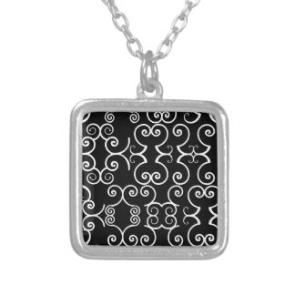 BLACK WHITE GEOMETRIC SMALL SILVER PLATED NECKLACE