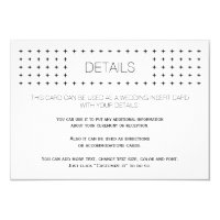 Black white geometric wedding details insert card