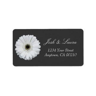 Black & White Gerbera Daisy Address Labels