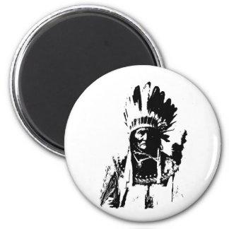 Black & White Geronimo 2 Inch Round Magnet