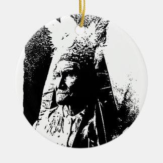 Black & White Geronimo Double-Sided Ceramic Round Christmas Ornament