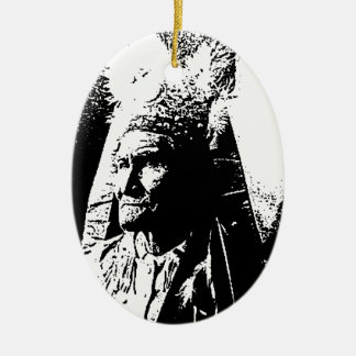Black & White Geronimo Double-Sided Oval Ceramic Christmas Ornament