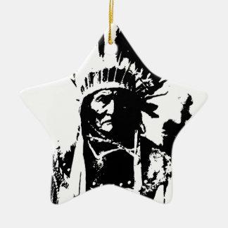 Black & White Geronimo Double-Sided Star Ceramic Christmas Ornament