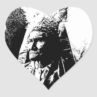Black & White Geronimo Heart Sticker