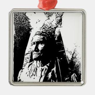 Black & White Geronimo Square Metal Christmas Ornament