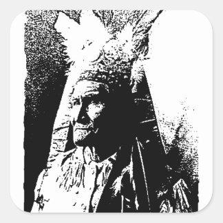 Black & White Geronimo Square Sticker