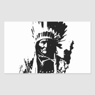 Black & White Geronimo Rectangular Sticker