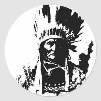 Black & White Geronimo Round Stickers