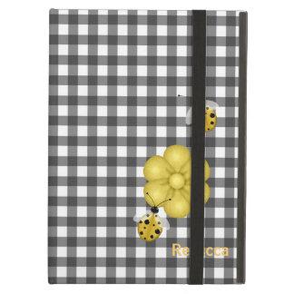 Black & White Gingham and Ladybugs Custom iPad Air Cover