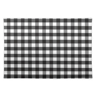 Black White Gingham Check Pattern Cloth Placemat