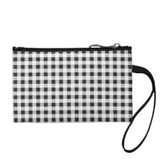 Black White Gingham Pattern Coin Wallets