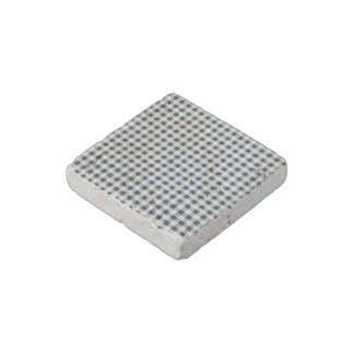 Black White Gingham Pattern Stone Magnet
