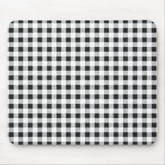 Black White Gingham Pattern Mouse Pad