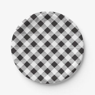 Black \u0026 White Gingham Pattern Picnic BBQ Paper Plate  sc 1 st  Zazzle : black and white checkered paper plates - pezcame.com