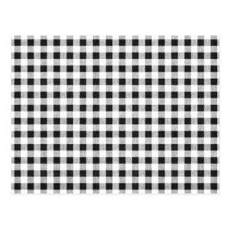 Black White Gingham Pattern Postcard