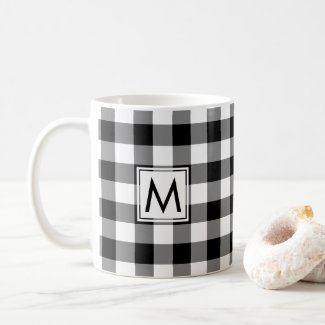 Black White Gingham Plaid Pattern with Monogram Coffee Mug