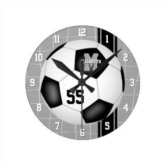 black white girls boys varsity stripes soccer round clock