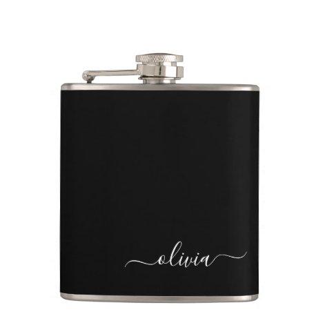 Black White Girly Script Monogram Name Modern Flask