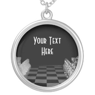 Black & White Glass Chess Board Game Silver Plated Necklace