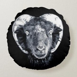 Black & White Goat Head Of Mendes Round Pillow