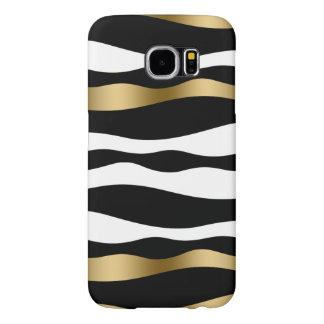 Black White & Gold Abstract Zebra Stripes Samsung Galaxy S6 Case