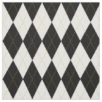 Black | White | Gold Argyle Pattern Fabric