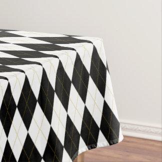 black white gold argyle pattern tablecloth