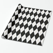Black | White | Gold Argyle Pattern Wrapping Paper