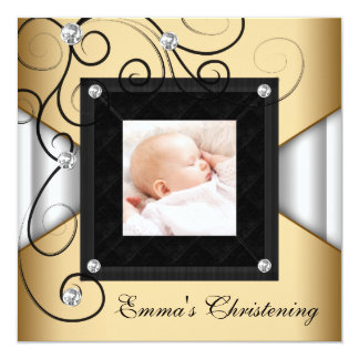Black White Gold Baby Girl Photo Christening Card