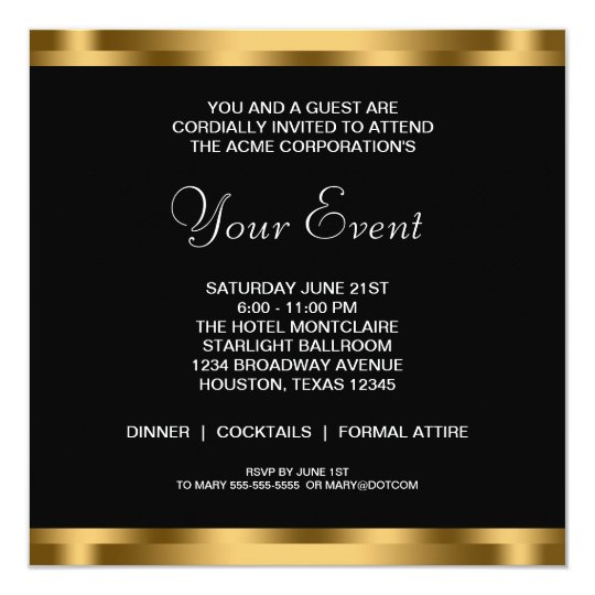 Black White Gold Black Tie Corporate Party Invitation