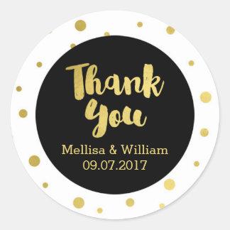 Black White Gold Confetti Wedding Favor Tags Classic Round Sticker