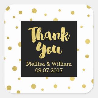 Black White Gold Confetti Wedding Favor Tags Square Sticker