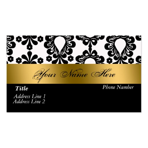 Black White Gold Damask Business Card