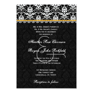 Black White Gold Damask Lace Wedding Recycled Card