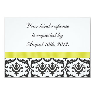 Black White Gold  Damask Wedding RSVP Card Personalized Announcement