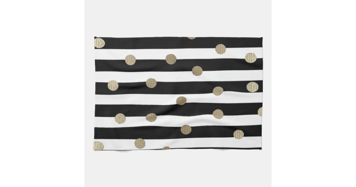 Black White Gold Dot Stripe Hand Towel Zazzle