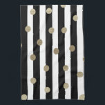"Black, White &amp; Gold Dot &amp; Stripe Hand Towel<br><div class=""desc"">Black,  White &amp; Gold Dot &amp; Stripe</div>"