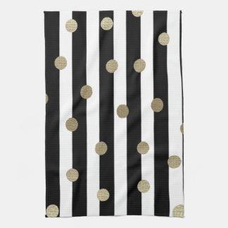 Black, White & Gold Dot & Stripe Hand Towel