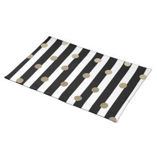 Black, White & Gold Dot & Stripe Placemat