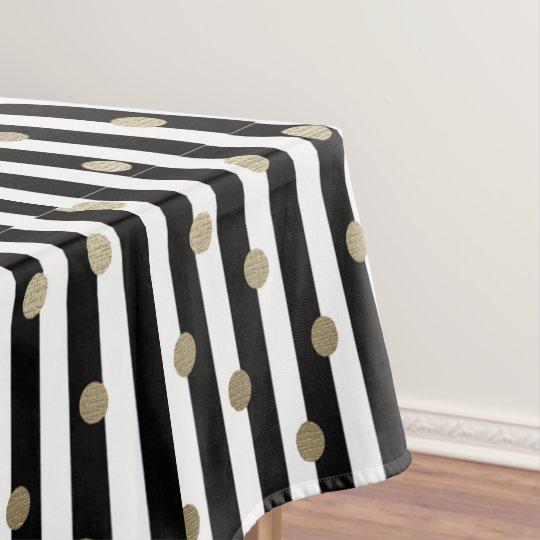 Black, White U0026 Gold Dot U0026 Stripe Tablecloth