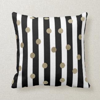 Black, White & Gold Dot & Stripe Throw Pillow