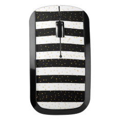 Black White Gold Faux Glitter Stripes Polka Dots Wireless Mouse at Zazzle