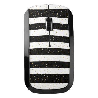 Black white gold faux glitter stripes polka dots wireless mouse