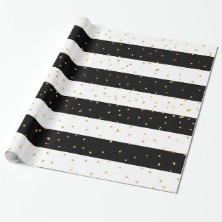 Black white gold faux glitter stripes polka dots wrapping paper